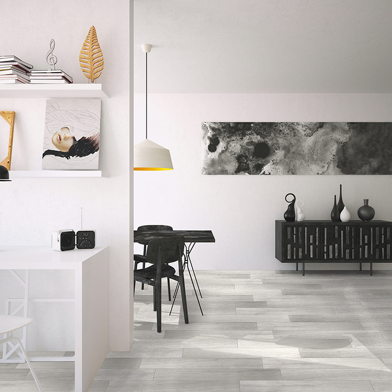 Grey luxury tile floors that look like real wood in the office and dining room.